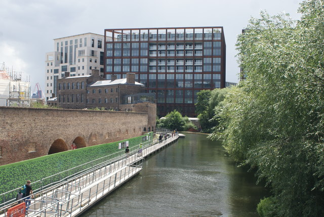 View of flats on Goods Way from Somers Town Bridge