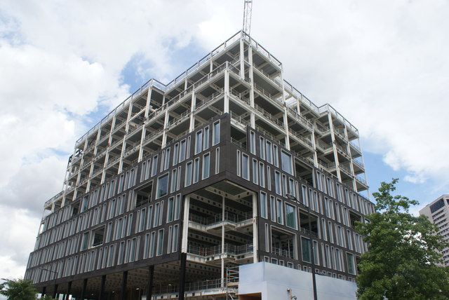 View of new apartments being constructed next to Lewis Cubitt Park from Handyside Street