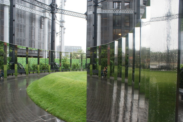 View of a reflection in one of the mirrors in Gasholder Park #2
