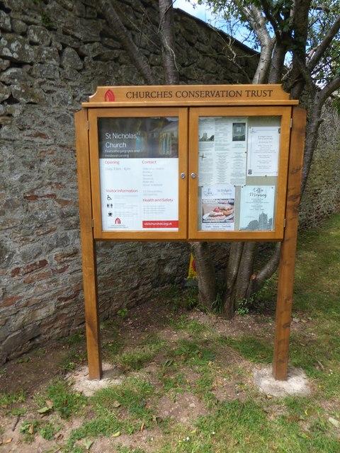 St Nicholas, Brockley: notice board