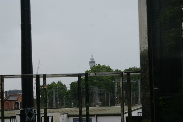 View of the BT Tower from Gasholder Park