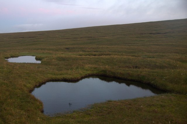 Moorland pools at Toolie, Hermaness, at dusk