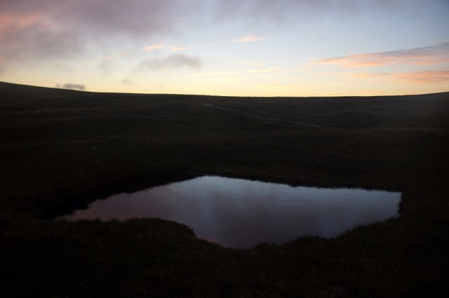 Small pool at Toolie, Hermaness, at dusk