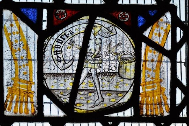 Ebrington, St. Eadburgha's Church: c16th Flemish glass in the south chancel window 2