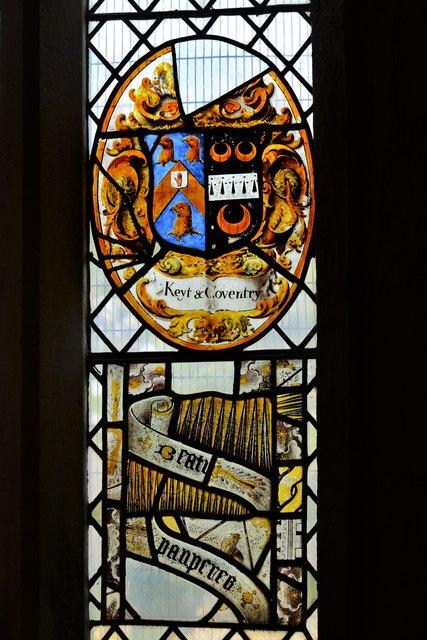Ebrington, St. Eadburgha's Church: Arms of the Keyte and Coventry families