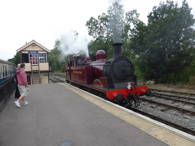Visiting heritage steam engine at Ongar station