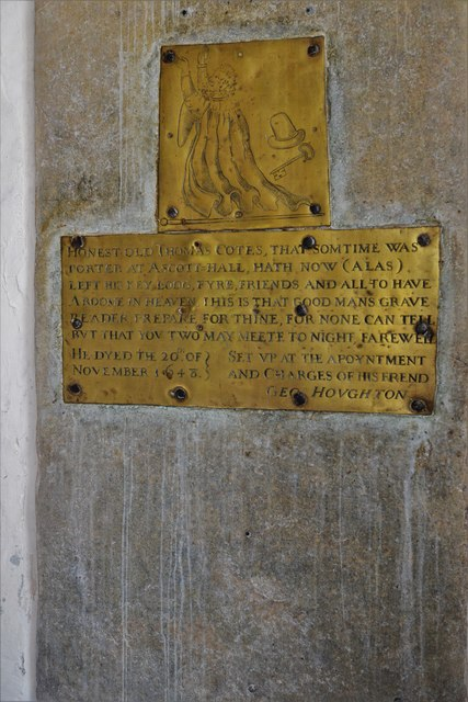 Wing, All Saints Church: Simple brass to Thomas Cotes, porter at Ascott Hall
