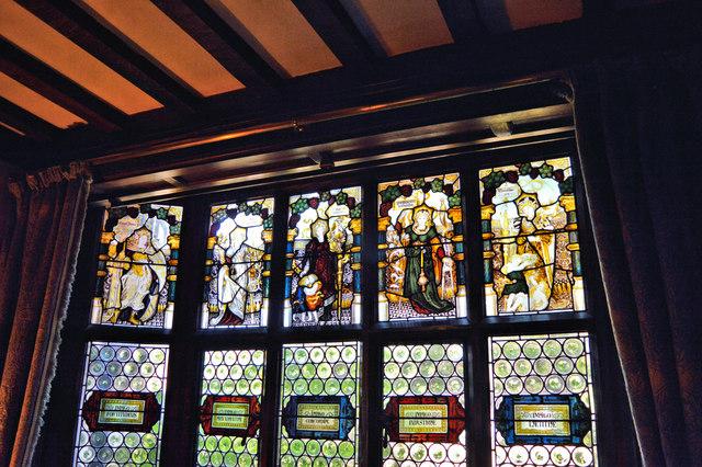 Kempe windows in the Hall Alcove, Wightwick Manor