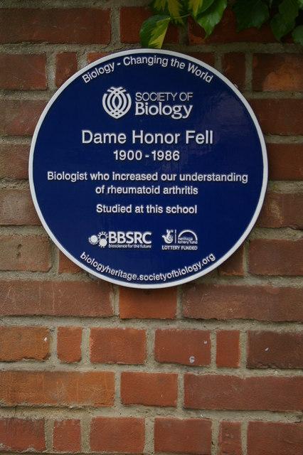 Blue plaque to Honor Fell, outside Wychwood School, Banbury Road, Oxford