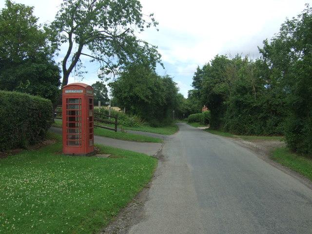 Telephone box on Hadzor Lane, Hadzor