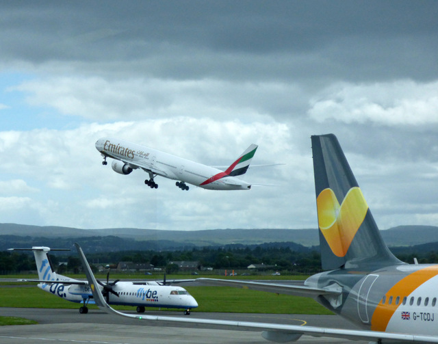 Emirates aircraft at Glasgow