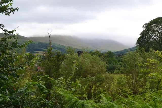 View towards cloud-covered Brecon Beacons from the canal
