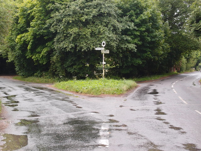 Road junction and grass triangle