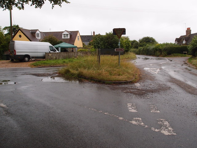 Road junction and grass island