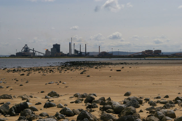 North Gare Sands: view across the Tees to Redcar steelworks