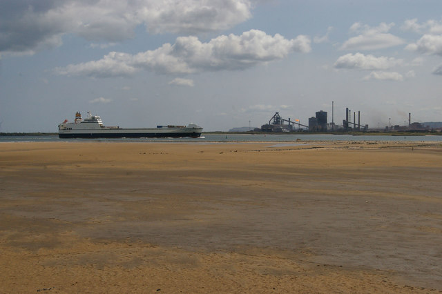 Ship entering the Tees, from North Gare