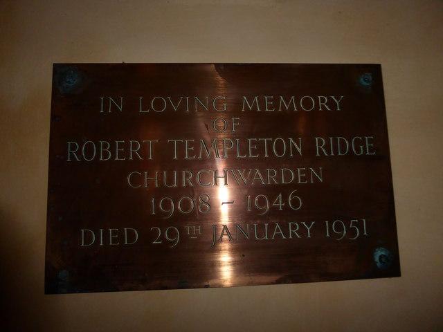 St Nicholas, Brockley: memorial (c)
