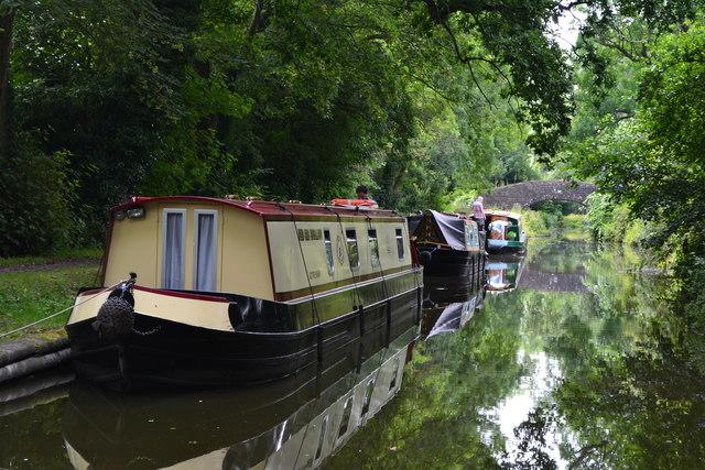 Moored narrowboats near Llanellen