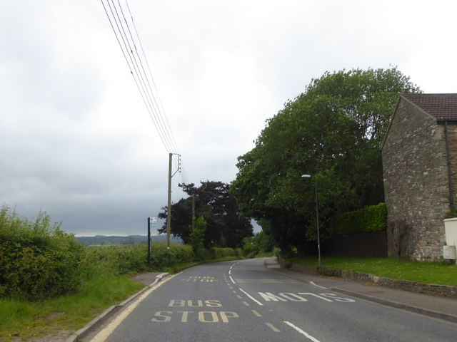 Bus stop on A39, Rosewell, south of High Littleton