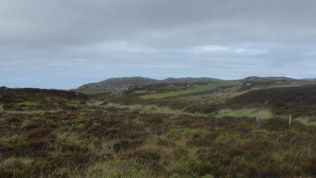 Moorland fence below Meall na Caorach