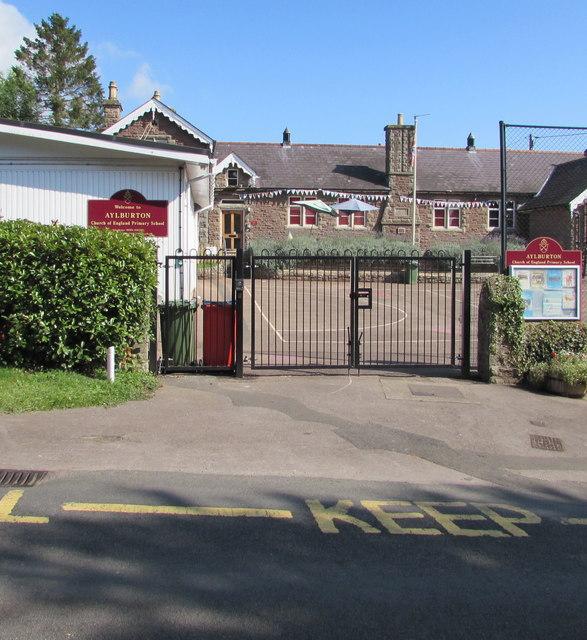 Village school entrance gates, Church Road, Aylburton