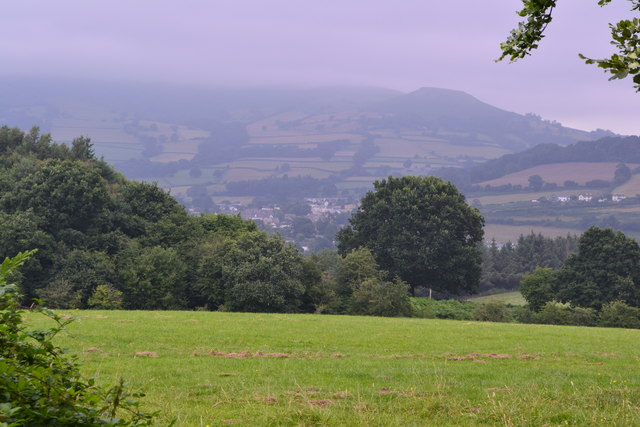 View over Crickhowell from canal bridge No. 111