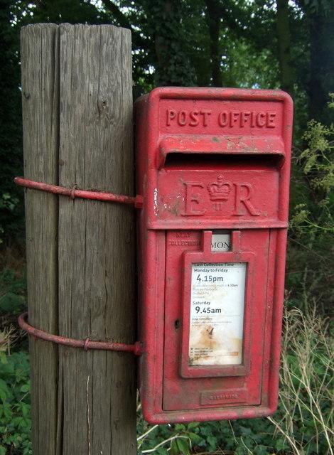Close up, Elizabeth II postbox on Hanbury Road, Hanbury Wharf