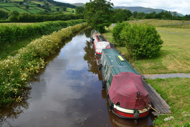 Narrowboats moored below Monmouthshire and Brecon Canal bridge No. 159