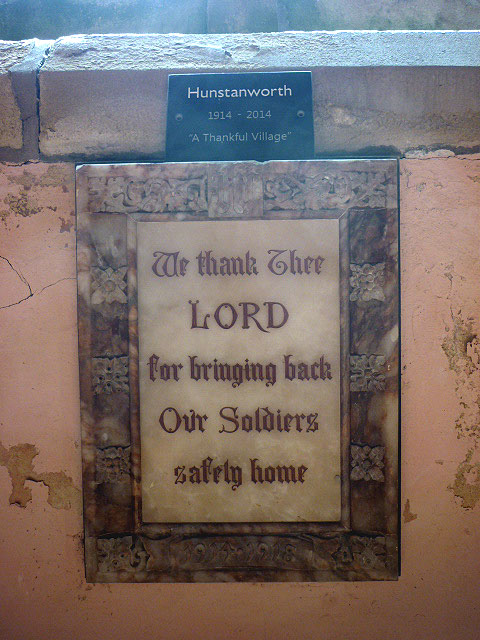 'Thankful Village' plaque, Church of St James, Hunstanworth