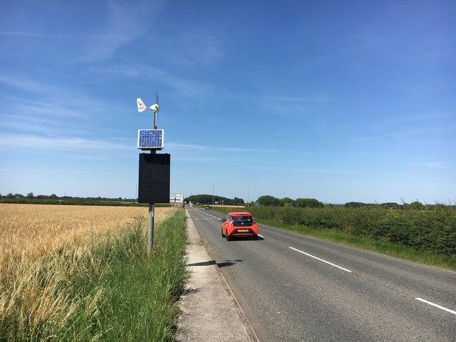 Solar powered warning sign on Laneham Road