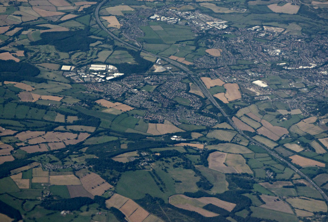 Stainborough Castle and Barnsley from the air