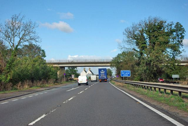 A1 northbound at A605 bridge