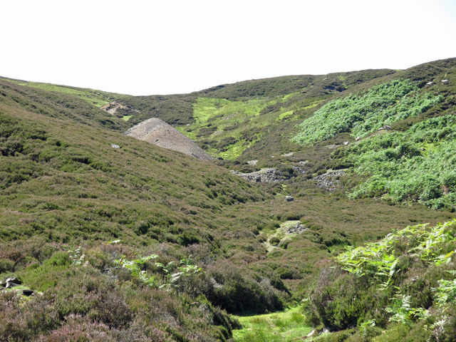 Lead mine spoil heaps in the cleugh of Manorgill Sike