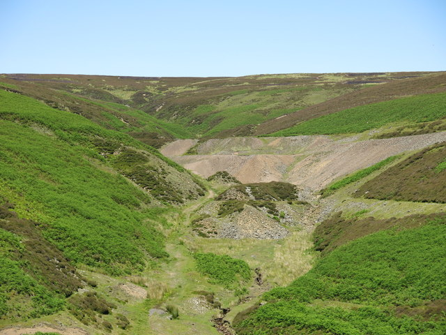 Lead mine spoil heaps in the cleugh of Wire Gill