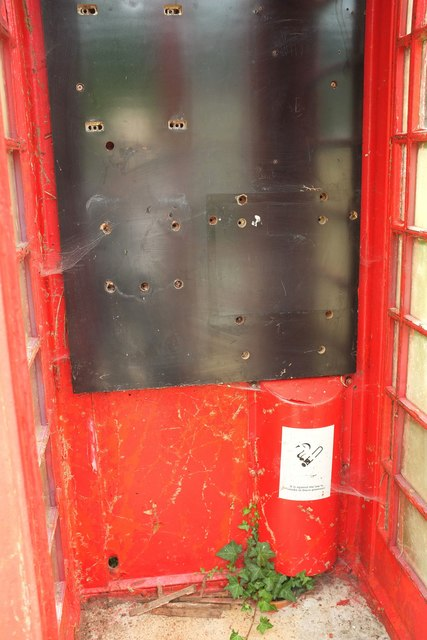 Empty telephone box, Gidleigh
