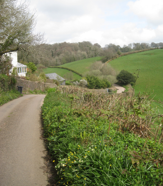 The lane to Oldstone Cross from Blackawton crosses a stream valley