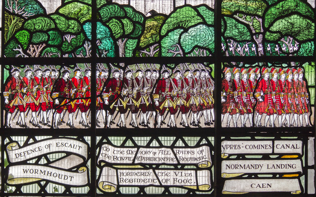 Detail of Stained glass window, St Mary's church, Warwick