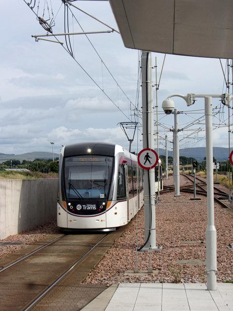 Tram arriving at Edinburgh Airport station