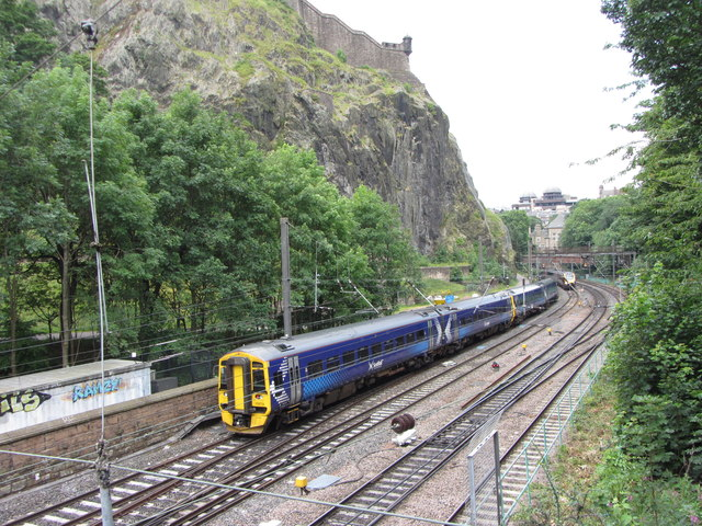 Train passing through Princes Street Gardens