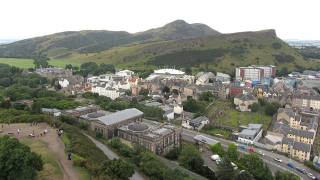 View from Nelson's Monument towards Salisbury Crags and Arthur's Seat