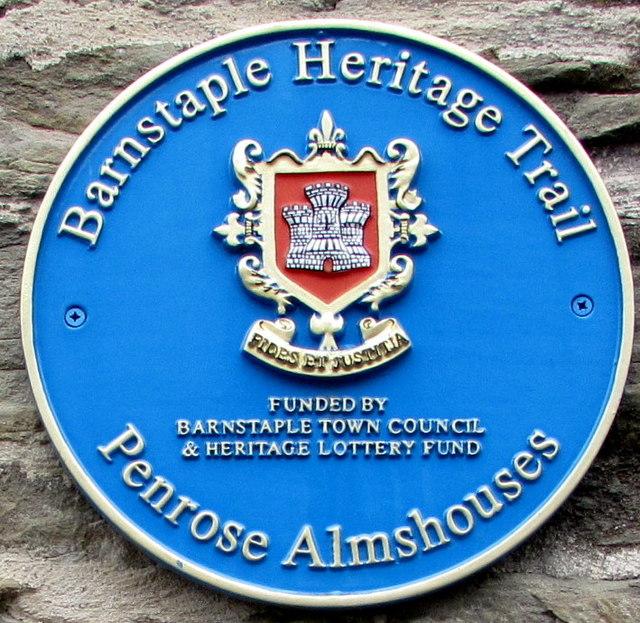 Penrose Almshouses Blue Plaque, Barnstaple
