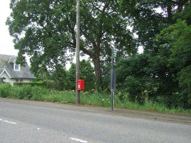 Elizabethan postbox and bus stop on Peebles Road