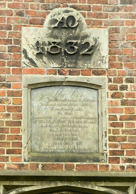 Commemorative panel and datestone, The Old School, West Hallam