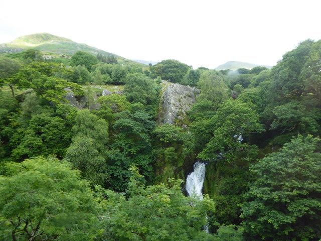 Waterfall on the Afon Hwch river beside the mountain railway