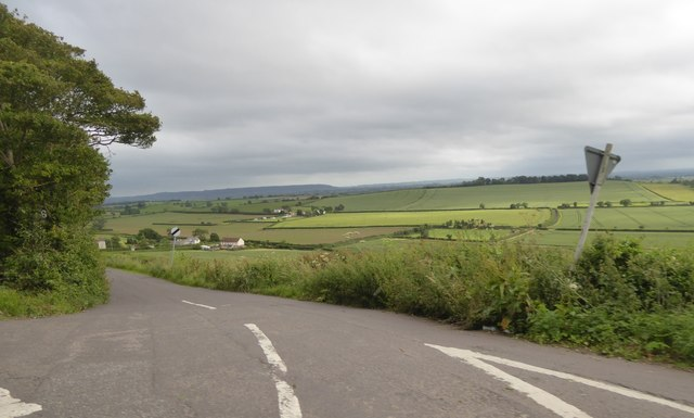 Tower Road seen from the A39 and valley below
