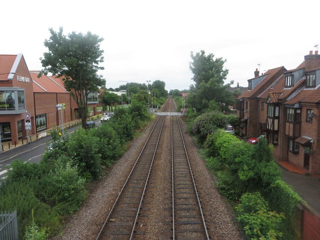 The Hull to Scarborough railway line passing through Beverley