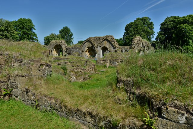 Hailes Abbey: The Undercroft looking towards the Refectory and Warming Room