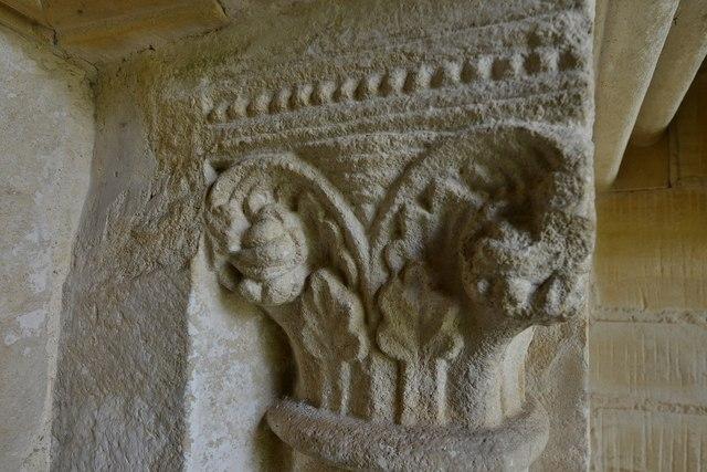 Little Barrington, St. Peter's Church: The Norman south doorway capital 1