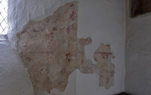 Little Barrington, St. Peter's Church: Fragment of c12th wall painting