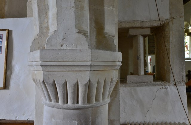 Little Barrington, St. Peter's Church: Norman scalloped capital and medieval squint by the chancel arch